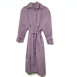 London Fog Lilac Purple Hooded Trench Coat 10P